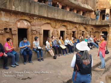 Group at  Udayagiri Caves - Tourist attraction in  Bhubaneswar, Odisha